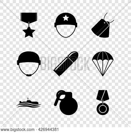 Set Military Reward Medal, Helmet, Dog Tags, Submarine, Hand Grenade, And Bullet Icon. Vector