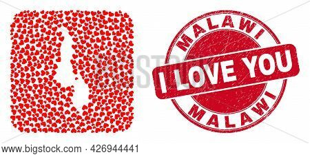 Vector Collage Malawi Map Of Love Heart Elements And Grunge Love Seal. Collage Geographic Malawi Map