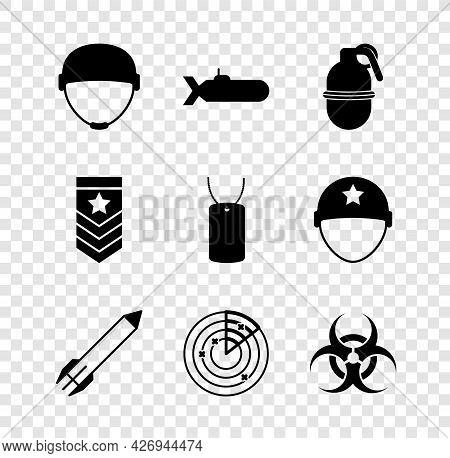 Set Military Helmet, Submarine, Hand Grenade, Rocket, Radar With Targets, Biohazard Symbol, Chevron