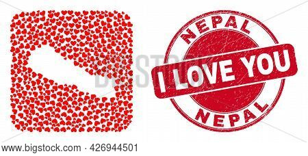 Vector Collage Nepal Map Of Valentine Heart Elements And Grunge Love Badge. Collage Geographic Nepal