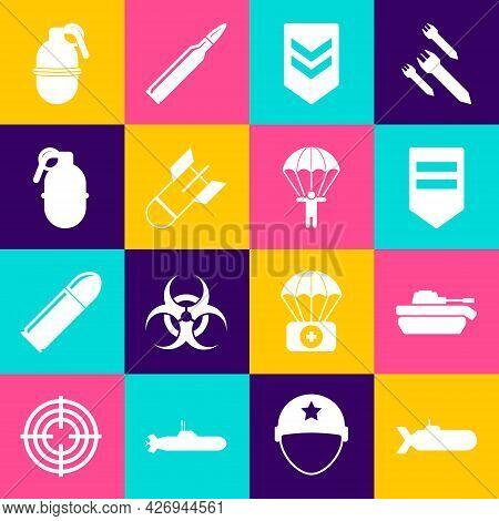 Set Submarine, Military Tank, Chevron, Aviation Bomb, Hand Grenade, And Parachute Icon. Vector