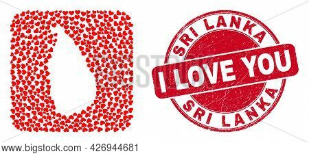 Vector Collage Sri Lanka Map Of Valentine Heart Elements And Grunge Love Badge. Mosaic Geographic Sr