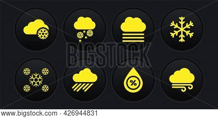 Set Snow, Snowflake, Cloud With Rain, Water Drop Percentage, Fog And Cloud And Snow Icon. Vector