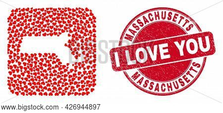 Vector Mosaic Massachusetts State Map Of Love Heart Elements And Grunge Love Seal Stamp. Mosaic Geog