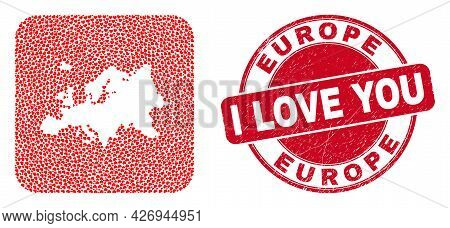 Vector Collage Europe Map Of Valentine Heart Items And Grunge Love Seal Stamp. Mosaic Geographic Eur