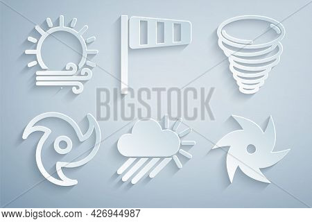Set Cloudy With Rain And Sun, Tornado, Cone Windsock Wind Vane And Wind Icon. Vector