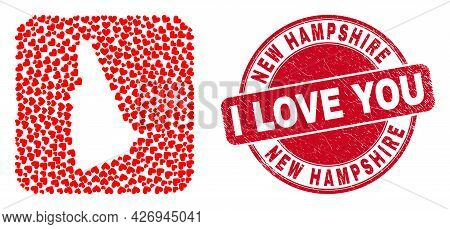 Vector Collage New Hampshire State Map Of Lovely Heart Items And Grunge Love Seal. Mosaic Geographic