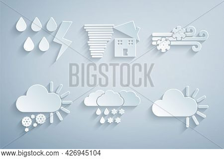 Set Cloud With Snow And Rain, Wind, Cloudy, Tornado Swirl And Storm Icon. Vector