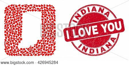 Vector Collage Indiana State Map Of Valentine Heart Items And Grunge Love Stamp. Collage Geographic
