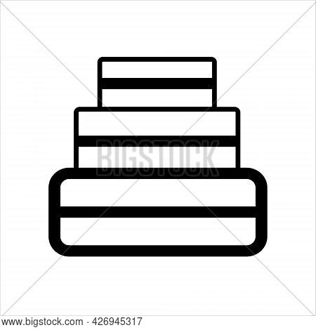 A Cake Icon Made Of Black Lines On A White Background For Use In Web Design Or Clipart