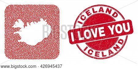 Vector Collage Iceland Map Of Love Heart Elements And Grunge Love Stamp. Collage Geographic Iceland