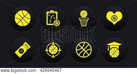 Set Basketball Game Ticket, Heart With Basketball, Planning Strategy, And, Training And Icon. Vector
