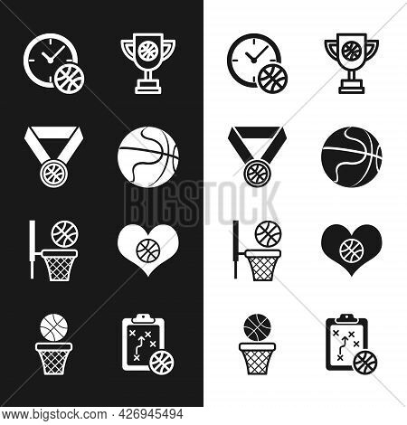 Set Basketball Ball, Medal, Clock With Basketball, Award Cup, And, Heart, Planning Strategy And Icon