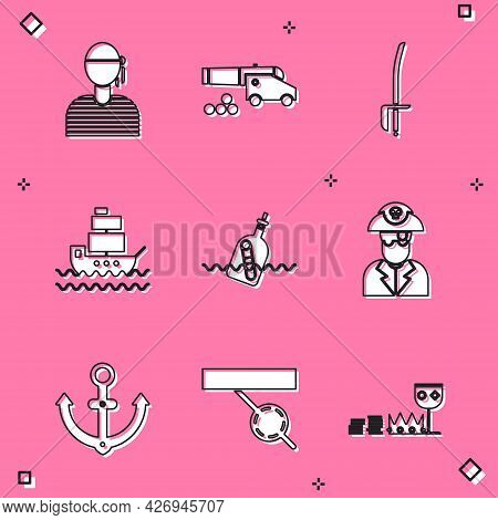 Set Sailor Captain, Cannon With Cannonballs, Pirate Sword, Ship, Bottle Message Water, Anchor And Ey