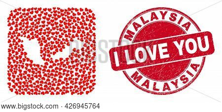 Vector Mosaic Malaysia Map Of Lovely Heart Items And Grunge Love Seal Stamp. Collage Geographic Mala