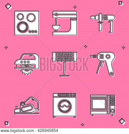 Set Gas Stove, Electric Mixer, Drill Machine, Circular Saw, Heater And Hot Glue Gun Icon. Vector