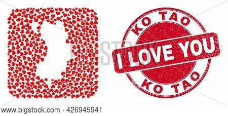 Vector Mosaic Ko Tao Map Of Love Heart Items And Grunge Love Seal Stamp. Mosaic Geographic Ko Tao Ma