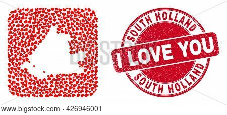 Vector Mosaic South Holland Map Of Love Heart Elements And Grunge Love Stamp. Mosaic Geographic Sout