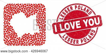 Vector Collage Lesser Poland Voivodeship Map Of Love Heart Elements And Grunge Love Seal.