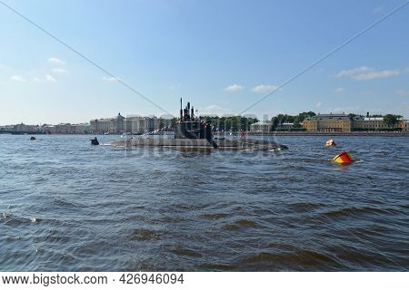 St. Petersburg, Russia - July 28, 2013: Military Submarine At The Naval Parade On The Neva River In