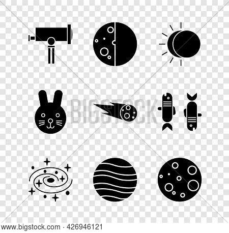 Set Telescope, Eclipse Of The Sun, Milky Way Spiral Galaxy, Planet Jupiter, Moon, Rabbit Zodiac And