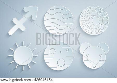 Set Planet Mars, Astrology Horoscope Circle, Sun, Rat Zodiac, Venus And Sagittarius Icon. Vector