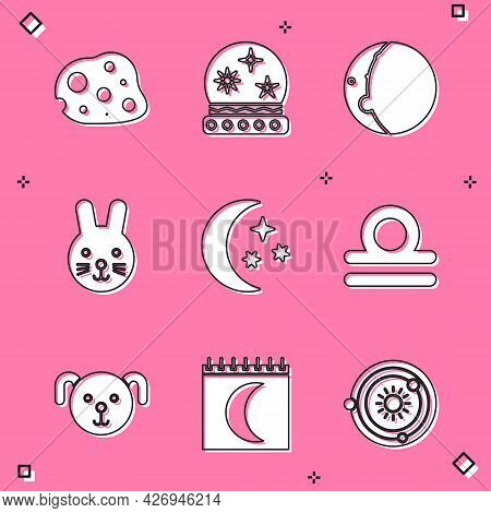 Set Asteroid, Magic Ball, Eclipse Of The Sun, Rabbit Zodiac, Moon And Stars, Libra, Dog And Phases C