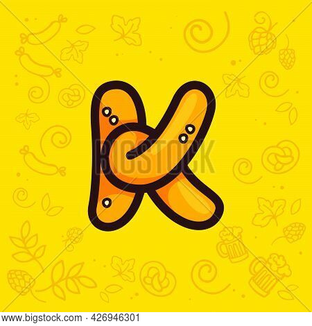 Letter K Logo Made Of Pretzel. Hand-drawn With Oktoberfest Pattern On Background. Perfect To Use In