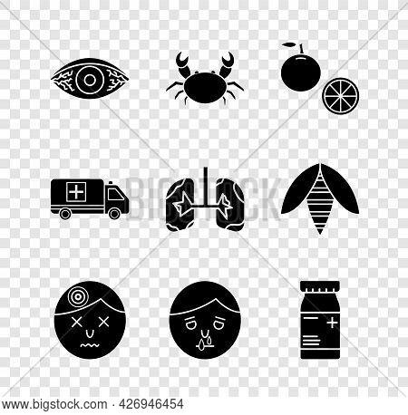 Set Reddish Eye Allergic Conjunctivitis, Crab, Orange Fruit, Man Having Headache, Runny Nose, Medici