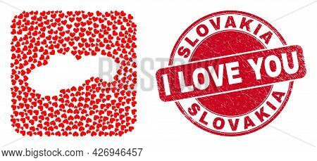 Vector Collage Slovakia Map Of Love Heart Items And Grunge Love Seal Stamp. Collage Geographic Slova
