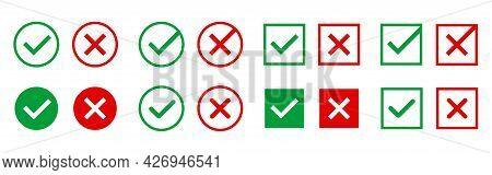 Approved And Rejected Icons. Green And Red Symbols On White Background. Right And Wrong Marks For We
