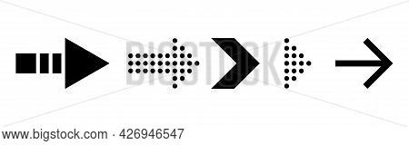 Arrows Icons. Simple Black Arrow On White Background. Pointer Right Direction. Click Next Template I