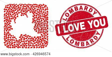 Vector Mosaic Lombardy Region Map Of Valentine Heart Items And Grunge Love Seal Stamp. Mosaic Geogra