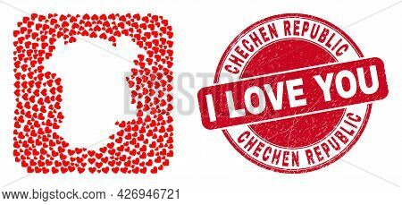 Vector Collage Chechen Republic Map Of Love Heart Elements And Grunge Love Badge. Collage Geographic