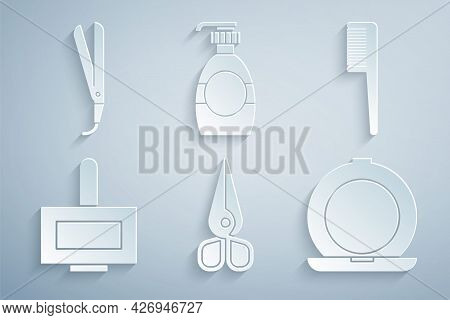 Set Scissors, Hairbrush, Nail Polish Bottle, Makeup Powder With Mirror, Bottle Of Liquid Soap And Cu