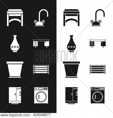 Set Office Desk, Vase, Chair, Water Tap, Flower Pot, Chest Of Drawers, Washer And Shower Cabin Icon.