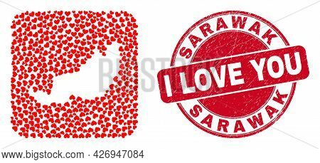 Vector Collage Sarawak State Map Of Love Heart Elements And Grunge Love Seal. Collage Geographic Sar