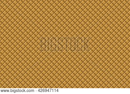 3d Wafer Seamless Pattern Background. Ice Cream Cone Waffle Texture. Crispy Wafers.