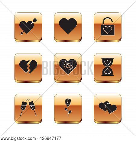 Set Amour With Heart And Arrow, Glass Of Champagne, Flower Rose, Healed Broken, Broken, Lock, Heart