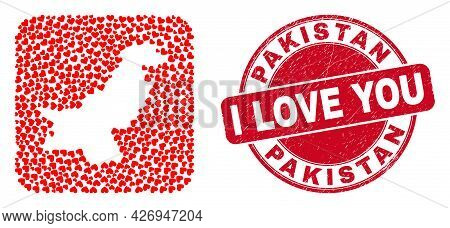 Vector Mosaic Pakistan Map Of Love Heart Items And Grunge Love Seal. Mosaic Geographic Pakistan Map