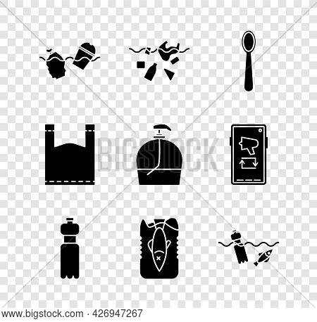 Set Problem Pollution Of The Ocean, Planet, Disposable Plastic Spoon, Bottle Water, Stop, Plastic Ba