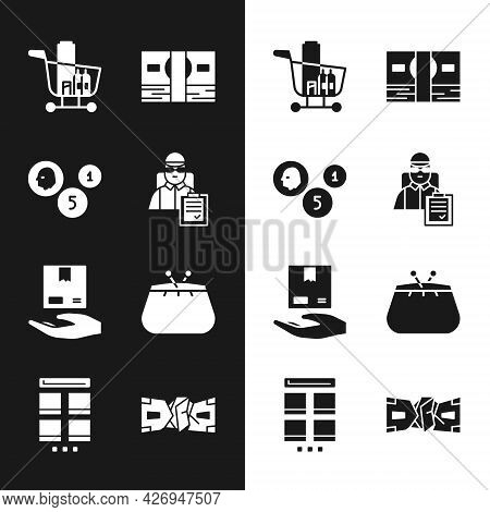 Set Delivery Man With Cardboard Boxes, Coin Money, Shopping Cart And Food, Stacks Paper Cash, Hand,