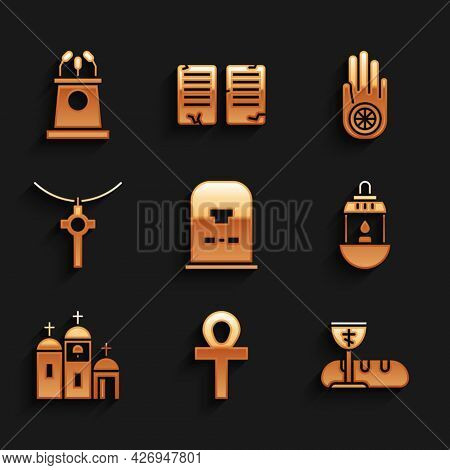 Set Tombstone With Rip Written, Cross Ankh, First Communion Symbols, Ramadan Kareem Lantern, Church
