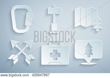 Set First Aid Kit, Location Of The Forest, Crossed Arrows, Road Traffic Signpost And Carabiner Icon.