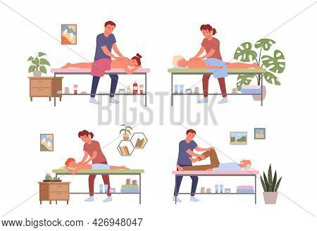 Massage Physiotherapy Body Care, Patients People Relax In Clinic Or Massage Salon Set