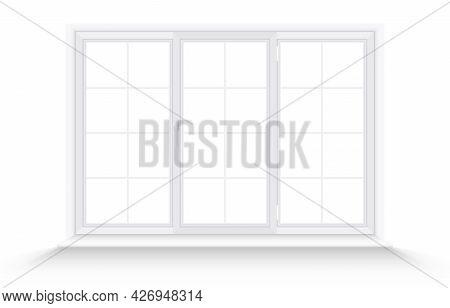 White Triple Plastic Window Frame Isolated On White Background. Wide Realistic Closed Window With Sl