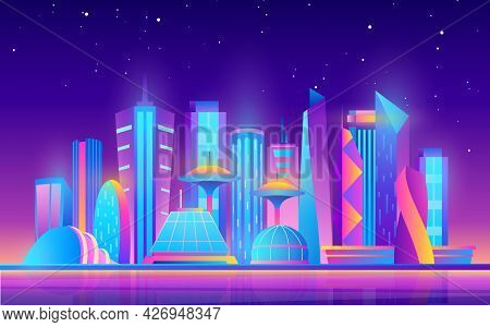 Cartoon Purple Future Modern Cityscape With Town Building Skyscrapers And Neon Glow City Lights, Sta