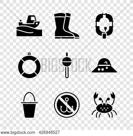 Set Fishing Boat On Water, Boots, Inflatable, Bucket, No Fishing, Crab, Lifebuoy And Float Icon. Vec