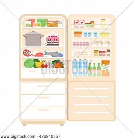 Refrigerator Fridge Full Of Food, With Open Door, Inside Of Equipment For Home Kitchen