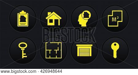 Set House Key, Plan, Garage, Man Dreaming About Buying House, And Contract Icon. Vector